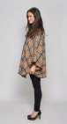 Special Offer K1338 Womens Reversible Check Cape Jacket